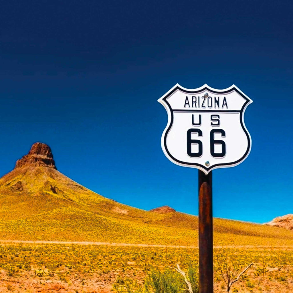 Image of the Arizona - Route 66 sign against a desert backdrop
