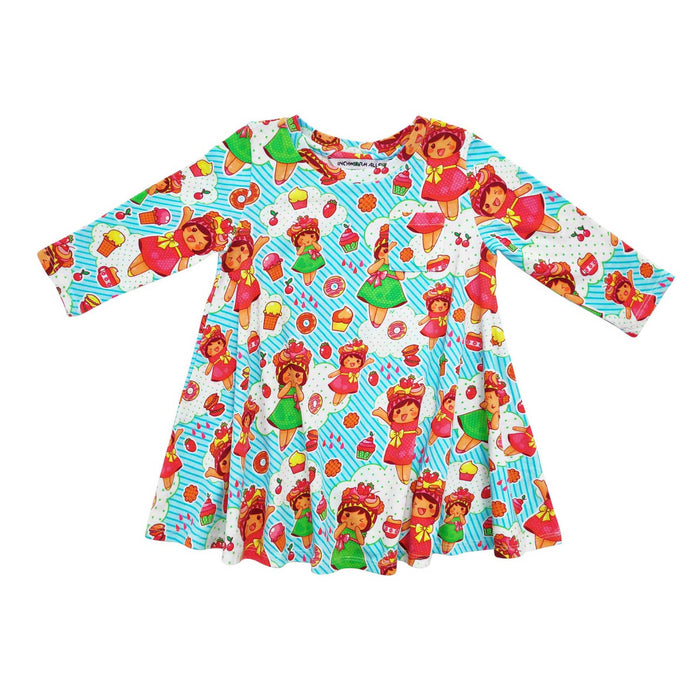Long sleeve swing dress with an all-over print of cartoon kawaii strawberry shortcakes