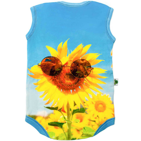 Back view of a tank bodysuit with the image of a sunflower wearing sunglasses