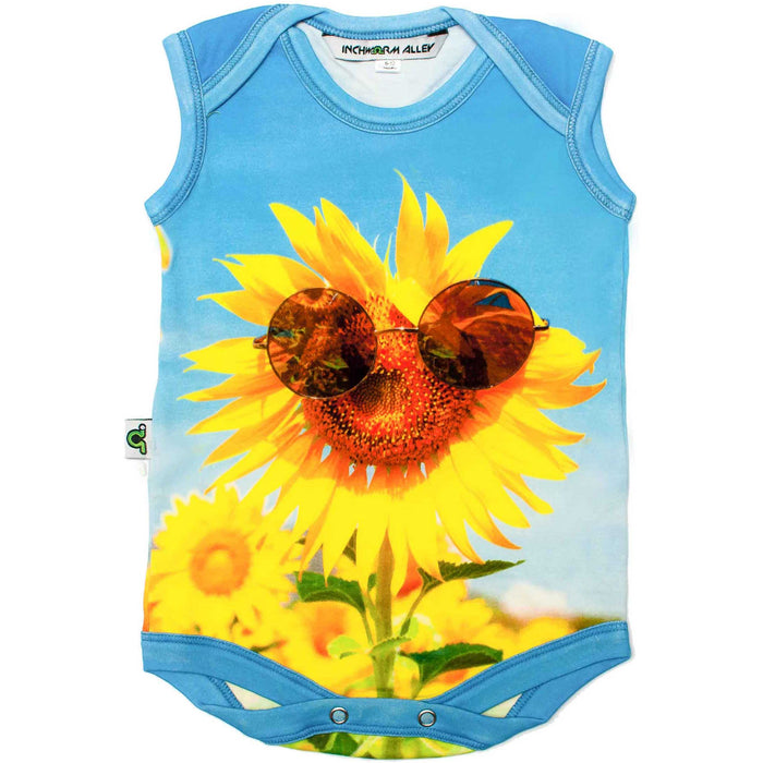 Front view of a tank bodysuit with the image of a sunflower wearing sunglasses