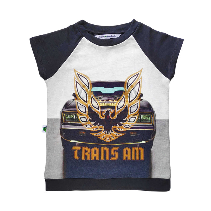Raglan cut-off tee with a front-end image of a classic Trans Am and the Firebird emblem and words TRANS AM superimposed on top