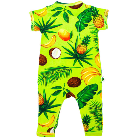 Back view of short sleeve, full leg romper with an all-over print of pineapples, coconuts, bananas, mangos and palm fronds