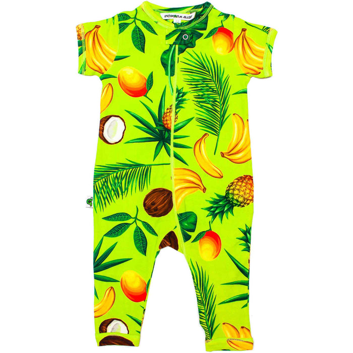 Front view of short sleeve, full leg romper with an all-over print of pineapples, coconuts, bananas, mangos and palm fronds