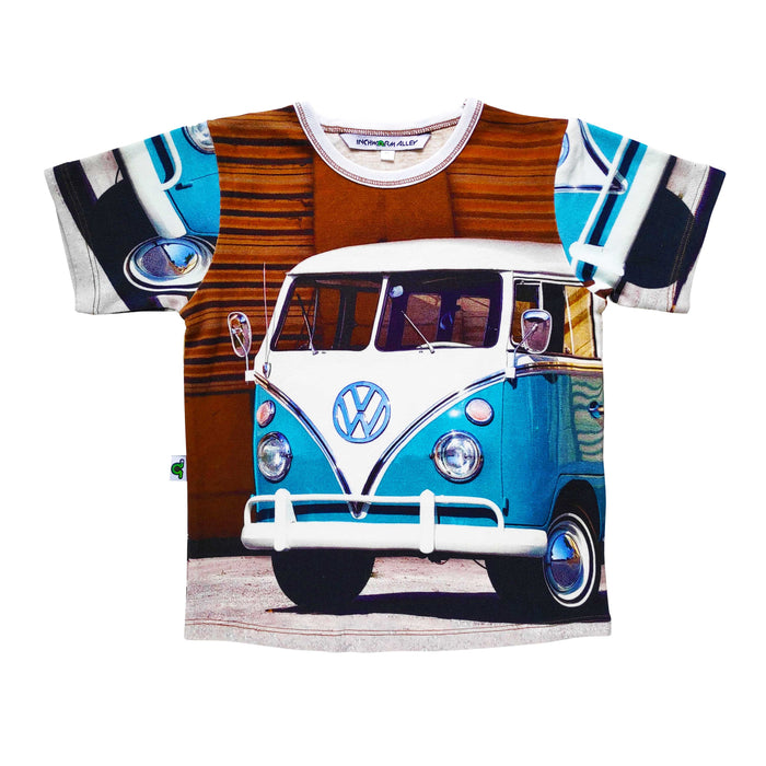 Graphic tee with image of a classic blue and white, split-window VW camper van