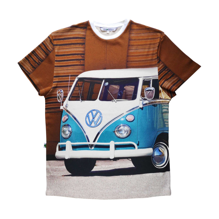 Adult tee with image of a classic blue and white, split-window VW camper van
