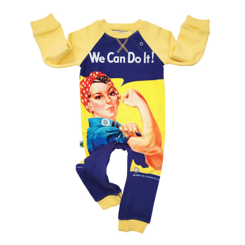 "Full sleeve raglan romper with vintage print of Rosie The Riveter and the words ""We Can Do It"""