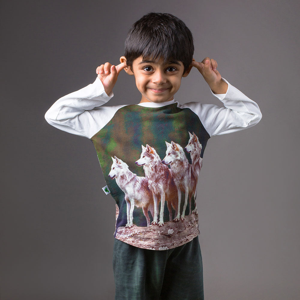 Boy wearing a raglan tee with image of four wolves on a rock face