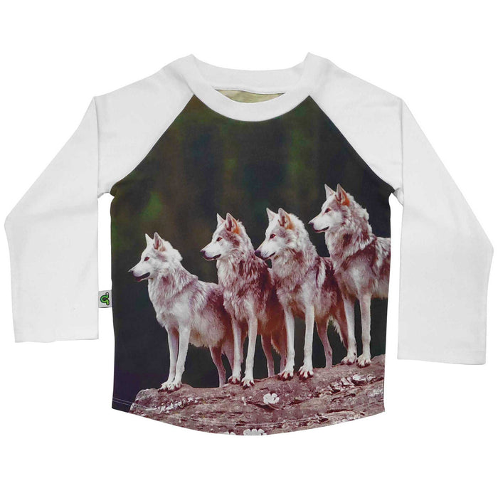 Raglan tee with image of four wolves on a rock face