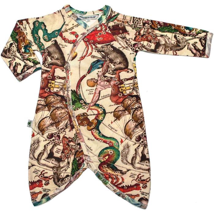 Front view of kimono wrap-front, drop-crotch romper with an all-over print of an antique zodiac star map