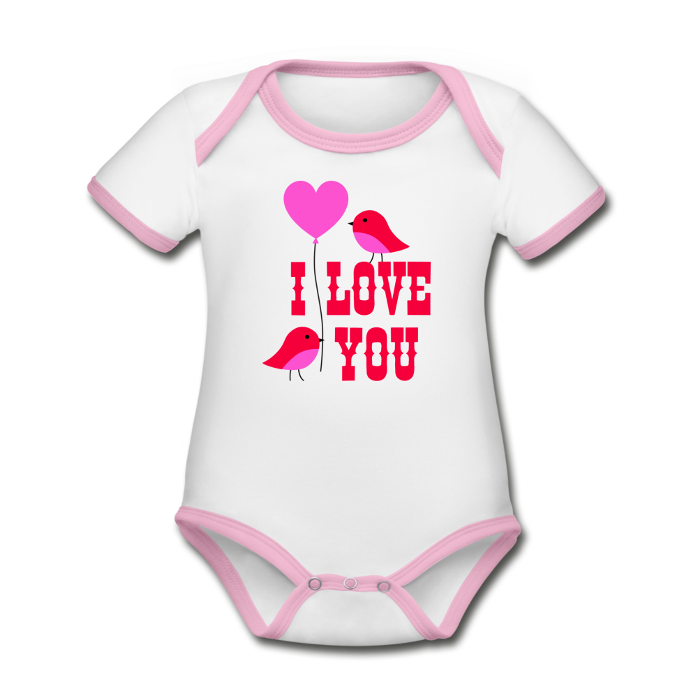 Bodysuit - Short Sleeve - I Love You - white/pink