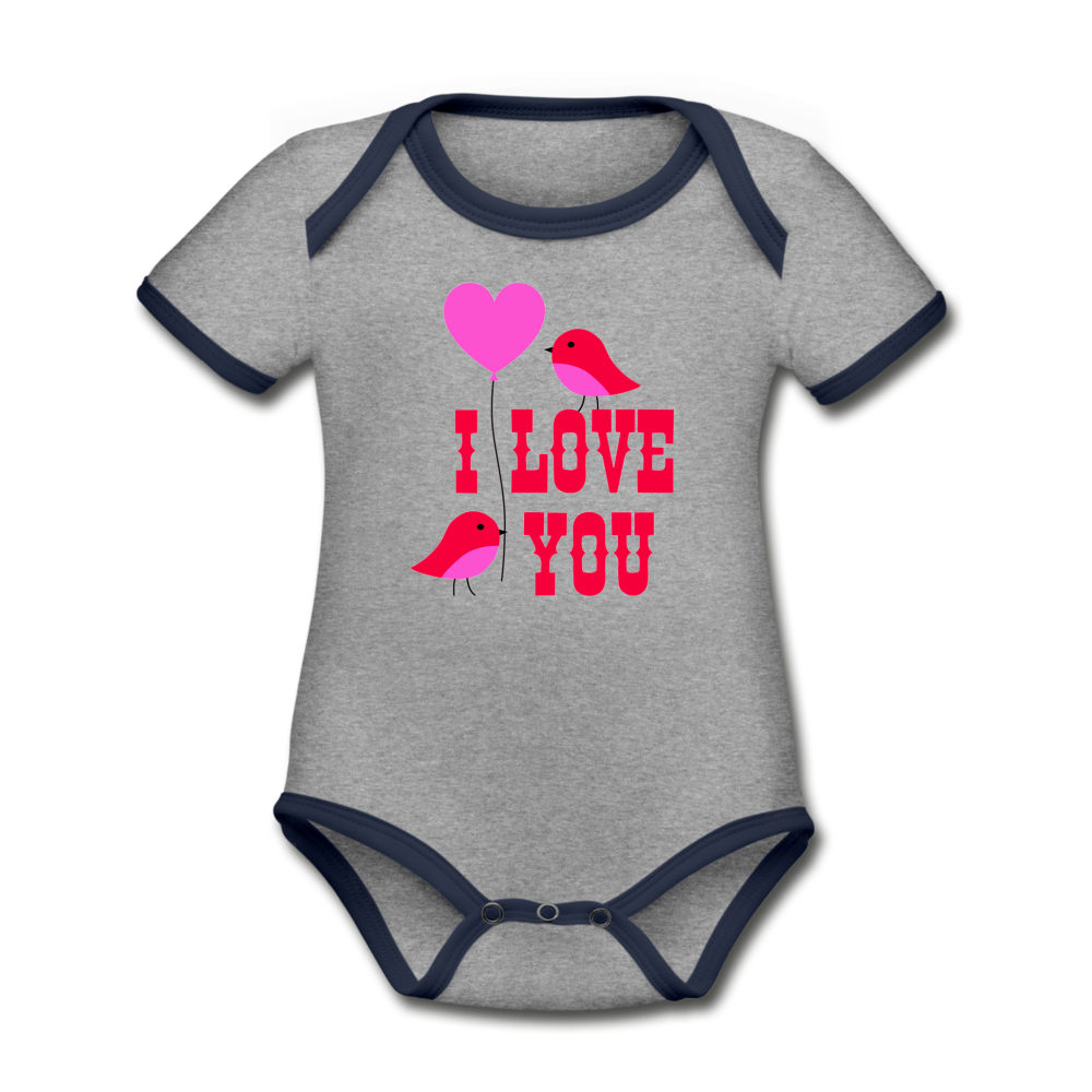 Bodysuit - Short Sleeve - I Love You - heather gray/navy