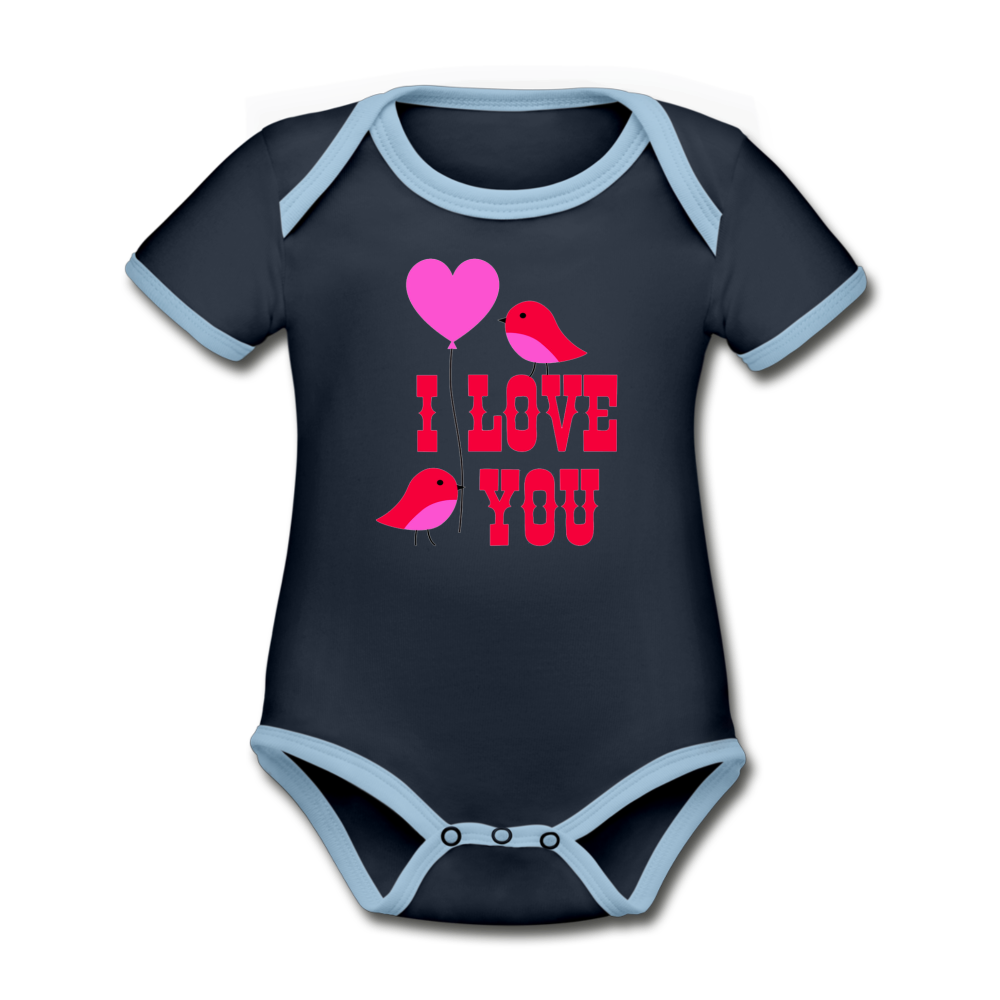 Bodysuit - Short Sleeve - I Love You - navy/sky
