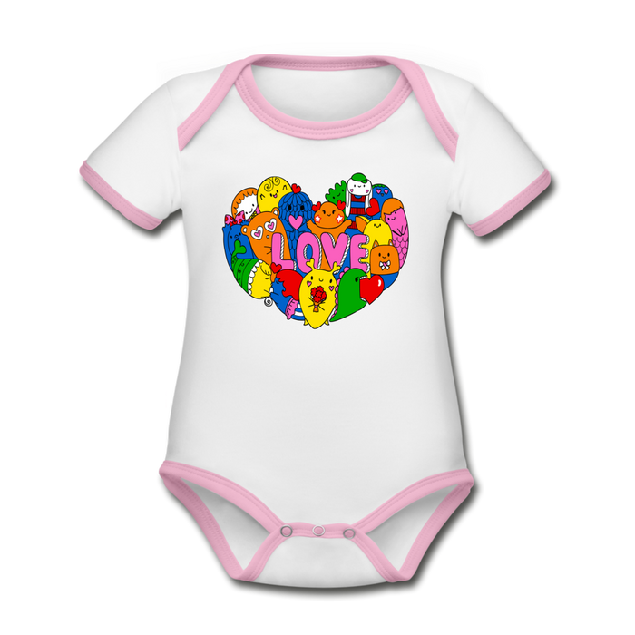 Bodysuit - Short Sleeve - Love Critters (4 colour options) - white/pink