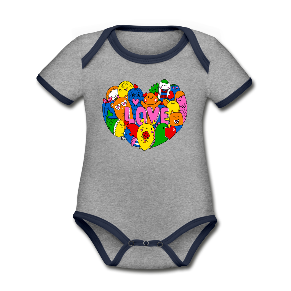 Bodysuit - Short Sleeve - Love Critters (4 colour options) - heather gray/navy
