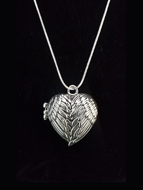 Winged Heart Locket Necklace