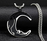 Black Cat Crescent Moon Necklace