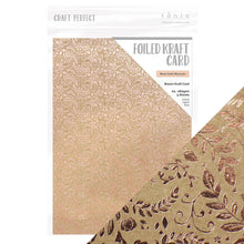 Load image into Gallery viewer, Craft Perfect - Foiled Kraft Card A4 - Rose Gold Blossom (5/PK) - 9350e