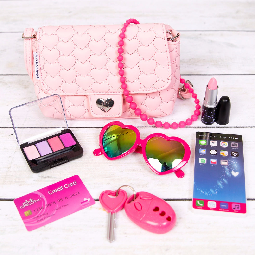 Light Pink Hearts Purse w/Play Pretend Makeup and Accessories