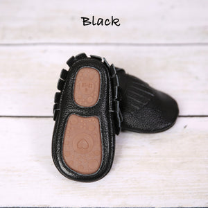 Rubber Sole Genuine Leather Moccasins
