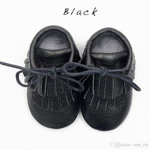 Double Fringe Genuine Leather Toddler Moccasins