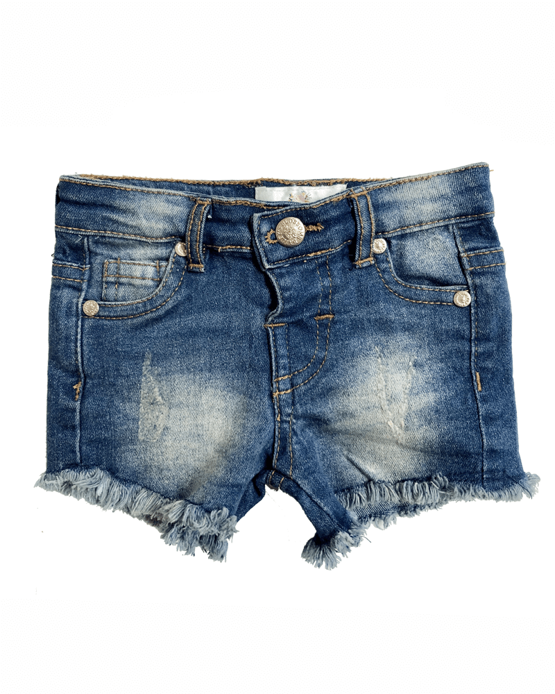 Distressed Denim Shorts - Dark Wash