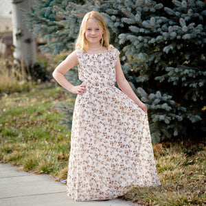 On or Off Shoulder Flutter Sleeve Maxi Dress - Pink & Brown Floral