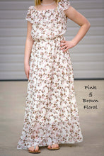 Load image into Gallery viewer, On or Off Shoulder Flutter Sleeve Maxi Dress - Pink & Brown Floral