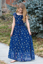 Load image into Gallery viewer, On or Off Shoulder Flutter Sleeve Maxi Dress - Navy & Yellow Buds