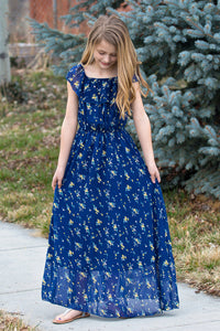 On or Off Shoulder Flutter Sleeve Maxi Dress - Navy & Yellow Buds