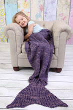 Load image into Gallery viewer, Two Tone Knit Mermaid Blanket