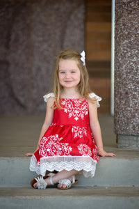 Red & White Detailed Edge Dress