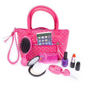 Polka Dot Purse w/Play Pretend Makeup and Accessories