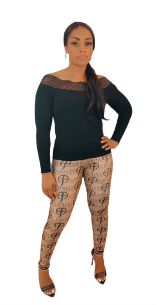 Load image into Gallery viewer, CCF- Signature logo print leggings - Brown