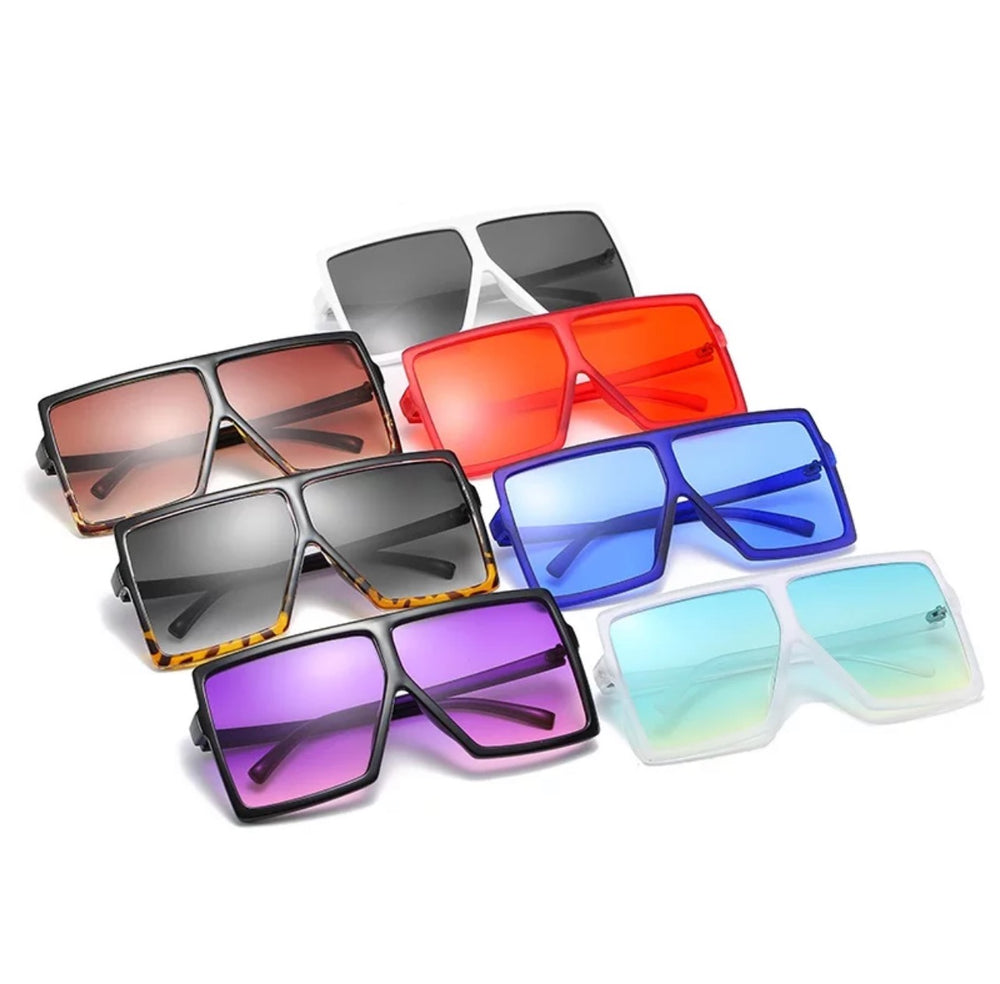 Super Oversize Translucent Square Color Pop Sunglasses