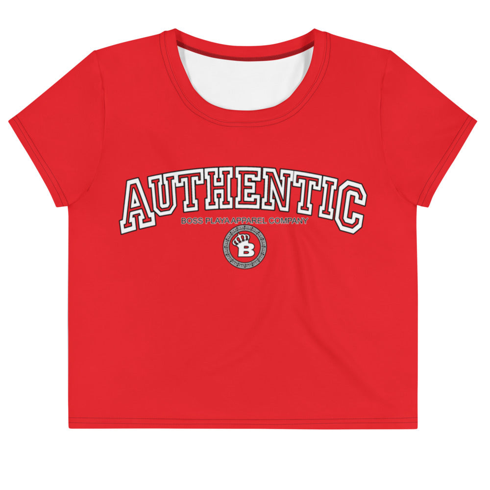 RED AUTHENTIC BOSS PLAYA Crop Tee