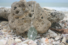 Load image into Gallery viewer, Large Aqua Sea Glass Sterling Silver Necklace