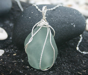 Large Aqua Sea Glass Sterling Silver Necklace