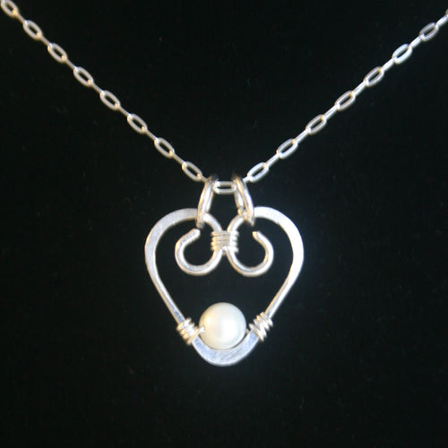 Hammered Heart - Sterling & Pearl Pendant