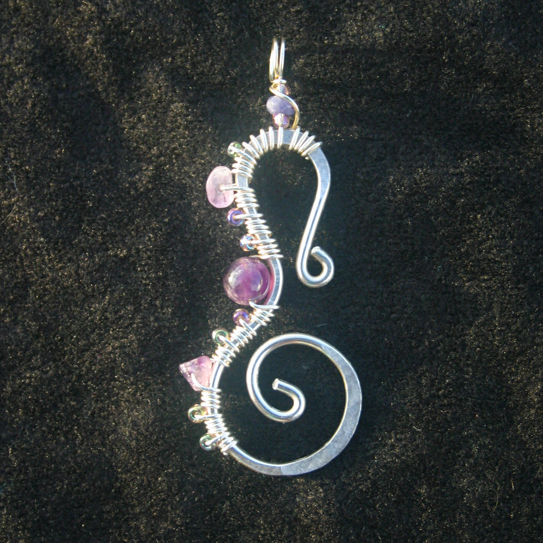 Sterling Silver Seahorse - Amethyst