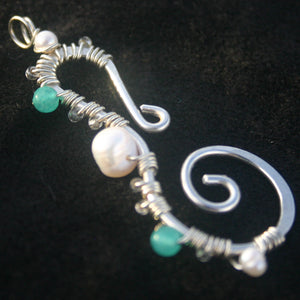 Sterling Silver Seahorse - Pearl and Aqua Apatite