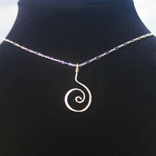 Hammered Swirl - Sterling Pendant