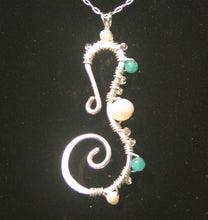 Load image into Gallery viewer, Sterling Silver Seahorse - Pearl and Aqua Apatite