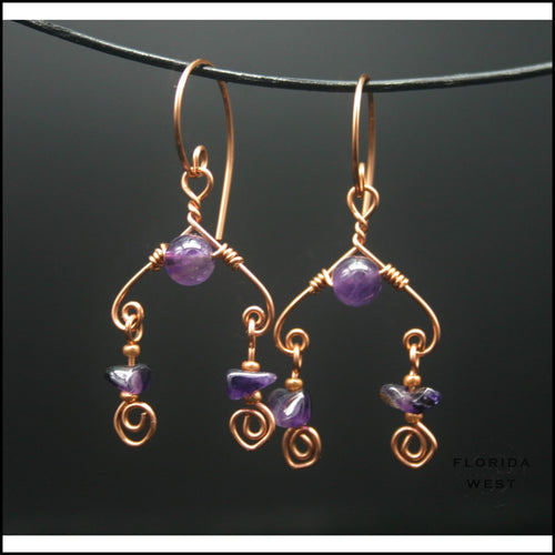 Amethyst Chandelier Earrings - Jewelry Hand Made
