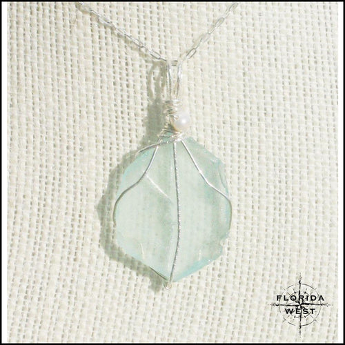 Aqua Sea Glass - Sterling Silver Wrap - Jewelry Hand Made