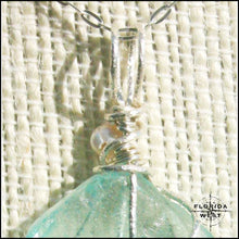 Load image into Gallery viewer, Aqua Sea Glass - Sterling Silver Wrap - Jewelry Hand Made