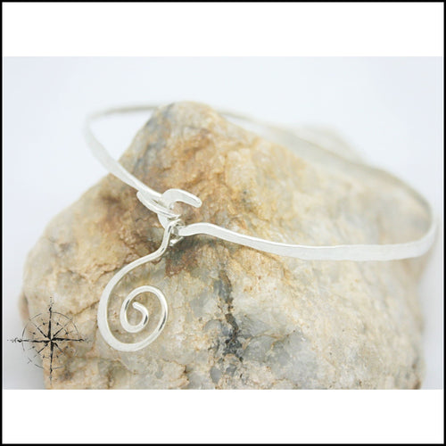 Argentium(r) Silver Swirl Bangle - Jewelry Hand Made