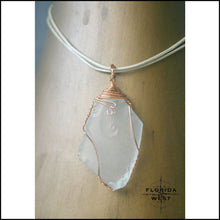 Load image into Gallery viewer, Clear Sea Glass - Copper Wire Wrap - Jewelry Hand Made