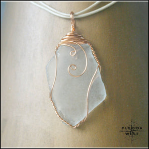 Clear Sea Glass - Copper Wire Wrap - Jewelry Hand Made