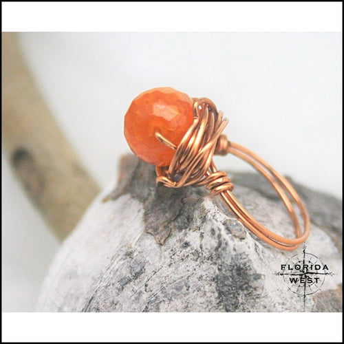 Copper and Agate Handmade Ring - Jewelry Hand Made