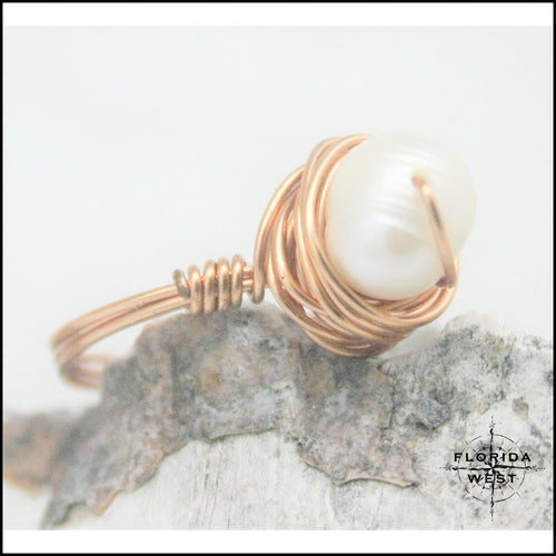 Copper and Pearl Handmade Ring - Jewelry Hand Made